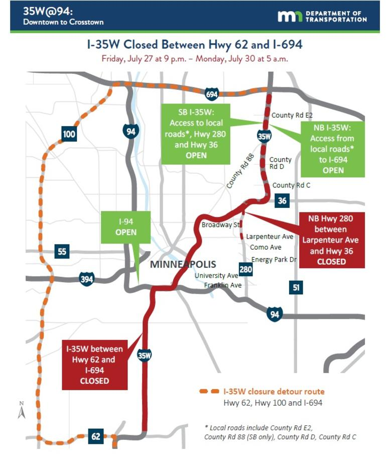 35W Closures Map