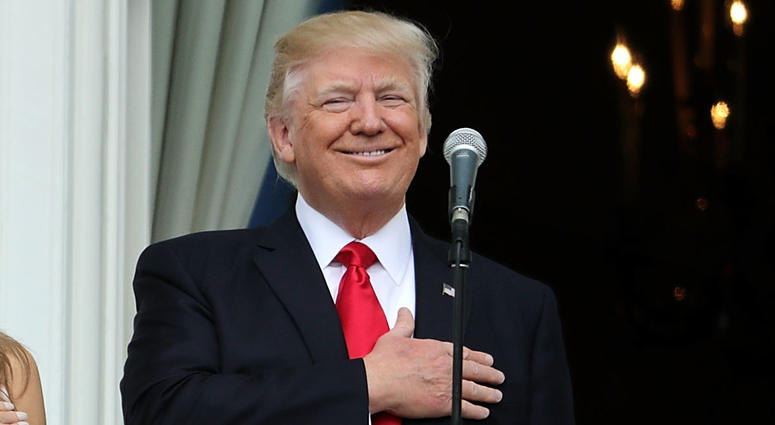 Trump hand over heart