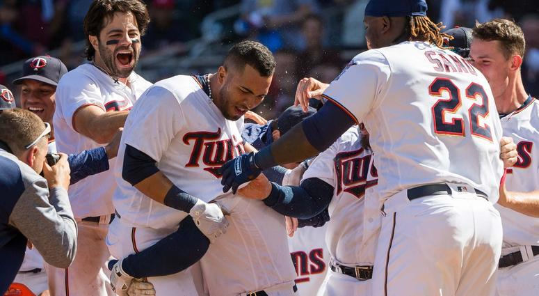 Eddie Rosario mobbed after home run
