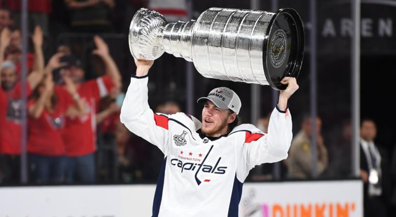 TJ Oshie raises the Stanley Cup