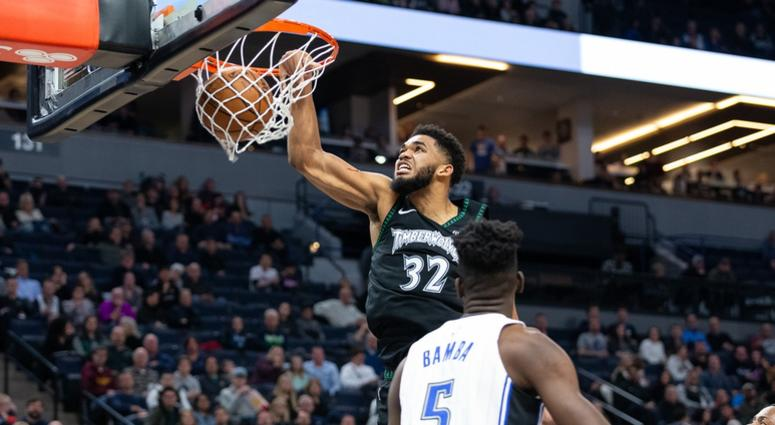 A dunk by Karl-Anthony Towns
