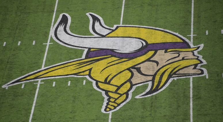 Vikings logo on field
