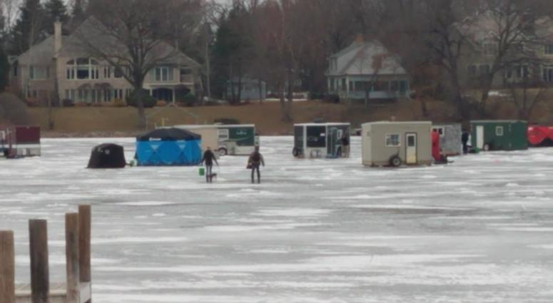 ice houses on a west metro lake