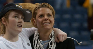 Lindsay Whalen and Pam Boron following the Gophers defeat of Duke in the Midwest Regional Final.