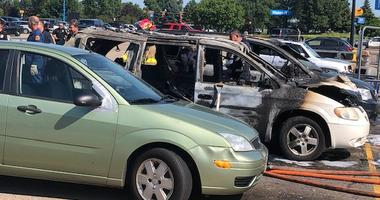 Burned out van in Fridley