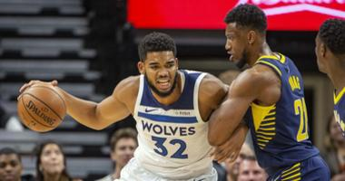 Karl-Anthony Towns works the low post