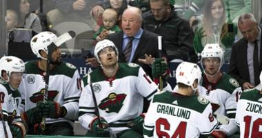 Wild coach Bruce Boudreau and the bench