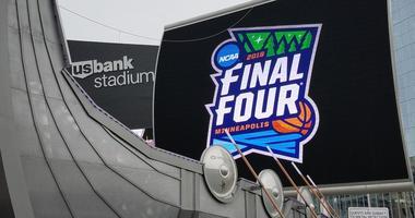 US Bank Stadium Final Four sign
