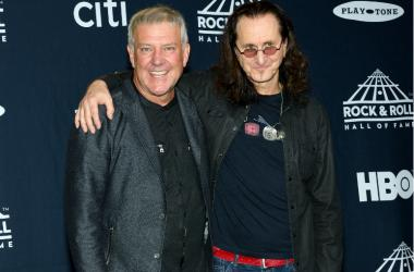 Alex Lifeson and Geddy Lee of Rush attend the Press Room at the 32nd Annual Rock & Roll Hall of Fame Induction Ceremony at the Barclays Center in Brooklyn, NY