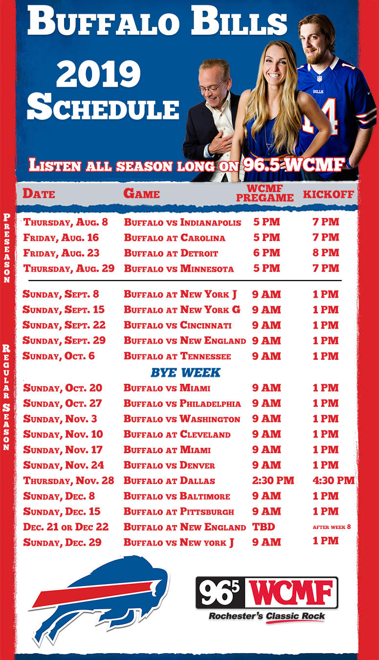 picture regarding Buffalo Bills Printable Schedule named Buffalo Costs 2019 Year Plan 96.5 WCMF