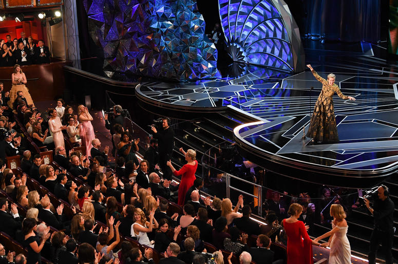 """Frances McDormand accepts the Oscar for performance by an actress in a leading role for """"Three Billboards outside Ebbing, Missouri"""" during the 90th Academy Awards"""