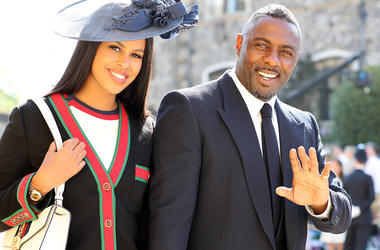 Idris Elba and Sabrina Dhowre arrives at St George's Chapel at Windsor Castle for the wedding of Meghan Markle and Prince Harry.