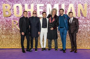 Ben Hardy, Roger Taylor, Rami Malek, Brian May, Joseph Mazzello and Gwilym Lee attending the Bohemian Rhapsody World Premiere held at The SSE Arena, London.