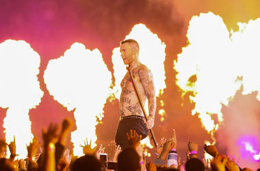 Adam Levine and Maroon 5 perform during the Super Bowl LIII halftime show