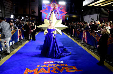 Brie Larson attending the Captain Marvel European Premiere held at the Curzon Mayfair, London. Picture date: Wednesday February 27, 2019.
