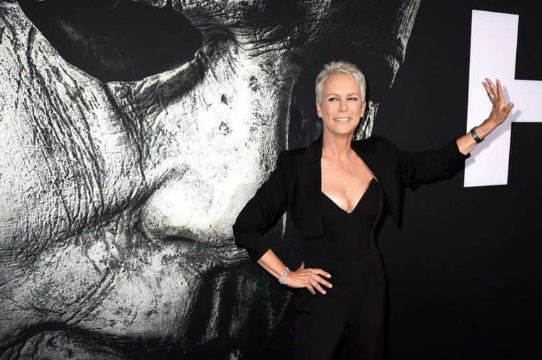 """Jamie Lee Curtis arrives at the premiere of Universal Pictures' """"Halloween"""" at the TCL Chinese Theatre on October 17, 2018 in Los Angeles, California."""