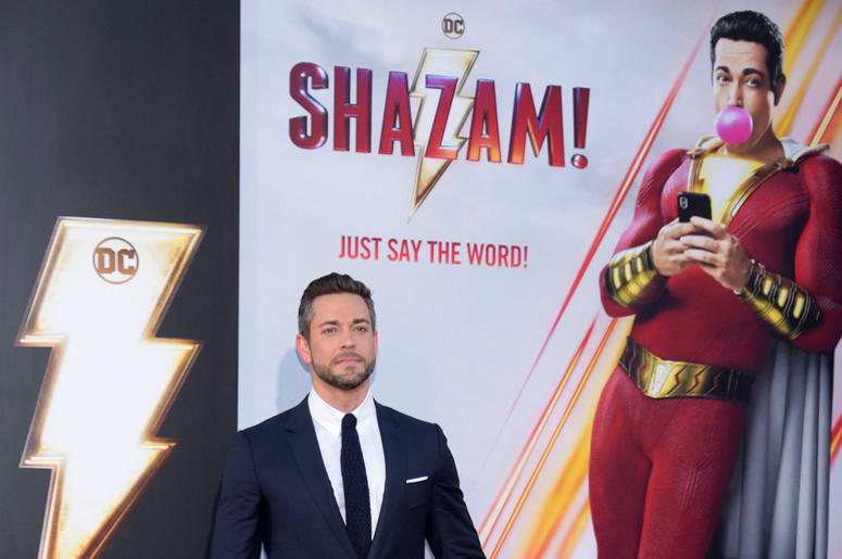 """Actor Zachary Levi attends the world premiere of """"Shazam!"""" at TCL Chinese Theatre on March 28, 2019 in Hollywood, California."""