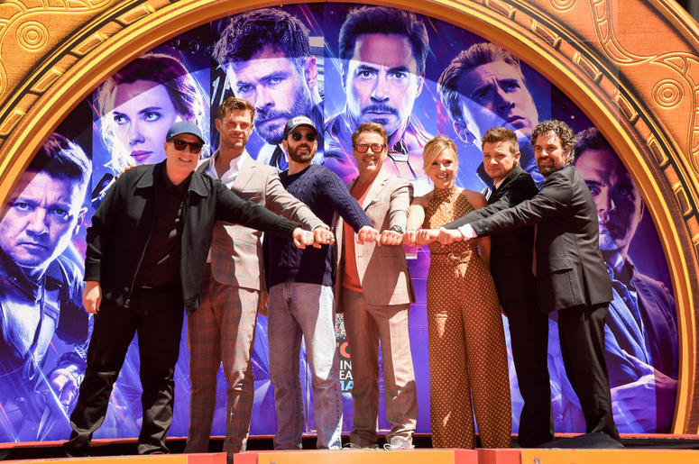 President of Marvel Studios/Producer Kevin Feige, Chris Hemsworth, Chris Evans, Robert Downey Jr., Scarlett Johansson, Mark Ruffalo, and Jeremy Renner attend the Marvel Studios' 'Avengers: Endgame' cast place their hand prints in cement at TCL Chinese The