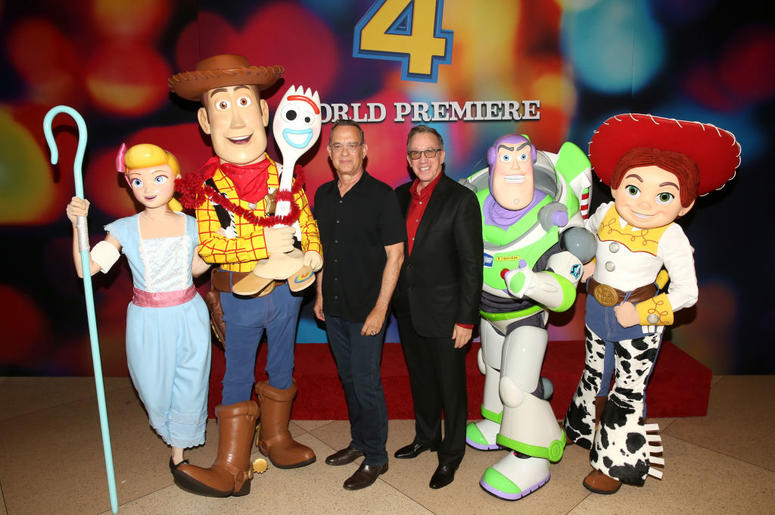 om Hanks (L) and Tim Allen attend the world premiere of Disney and Pixar's TOY STORY 4 at the El Capitan Theatre in Hollywood, CA on Tuesday, June 11, 2019.