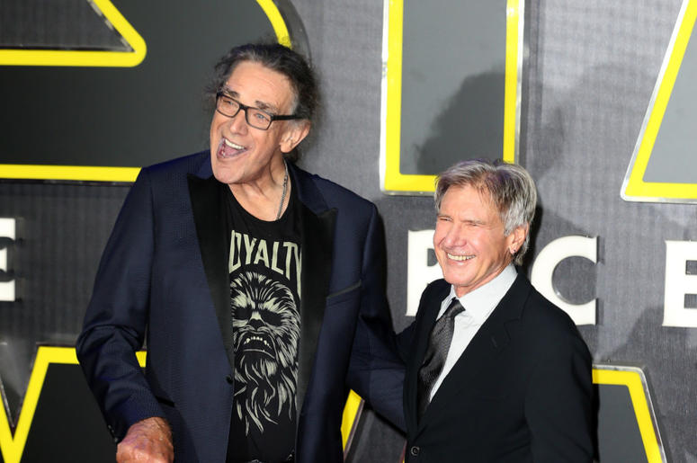 "Peter Mayhew and Harrison Ford attend the European Premiere of ""Star Wars: The Force Awakens"""