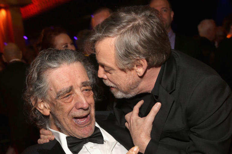 Peter Mayhew (L) and Actor Mark Hamill at the world premiere of Lucasfilm's Star Wars: The Last Jedi
