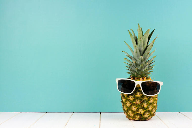 Hipster pineapple with sunglasses