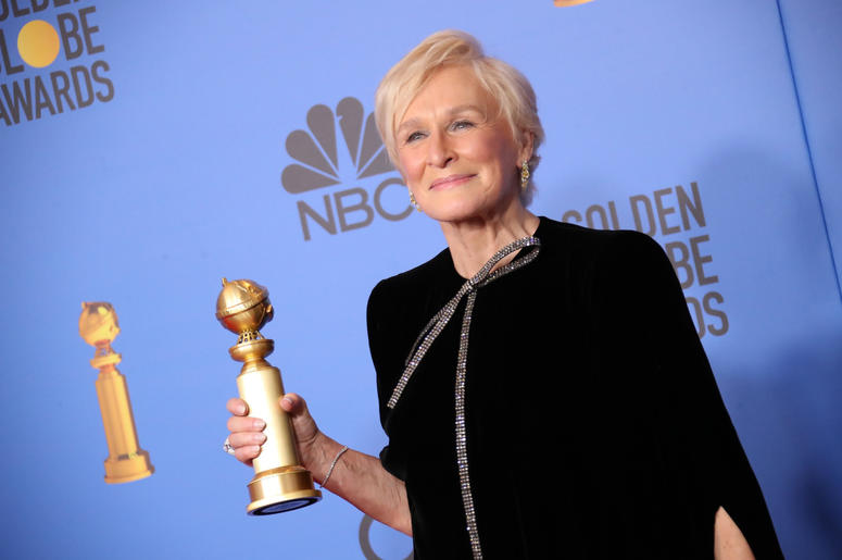 """Glenn Close poses in the press room with the award for best performance by an actress in a motion picture, drama for \""""The Wife\"""" at the 76th annual Golden Globe Awards at the 76th Golden Globe Awards at the Beverly Hilton."""