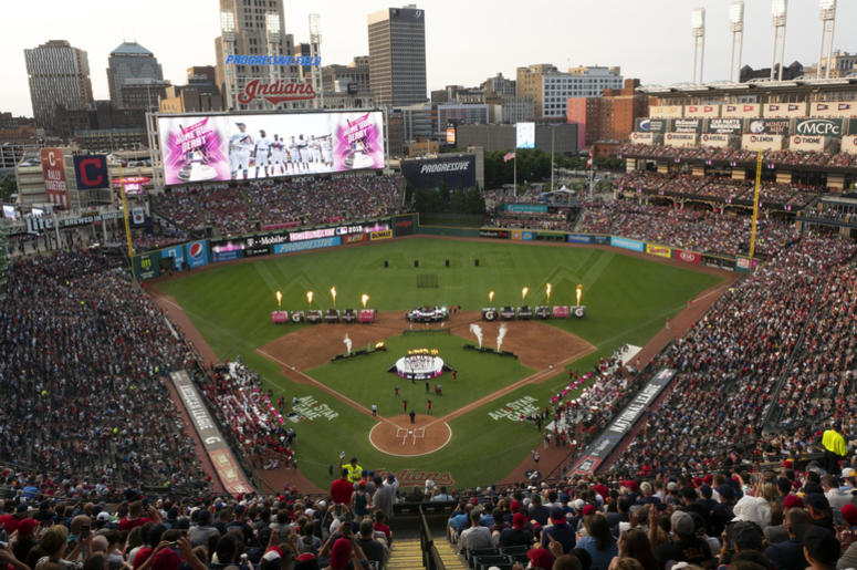 The Home Run Derby participants are introduced prior to the 2019 MLB Home Run Derby at Progressive Field.