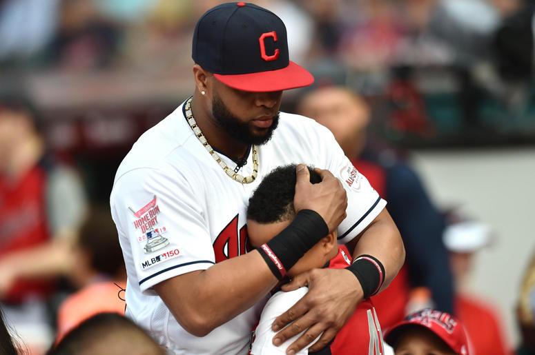 Cleveland Indians first baseman Carlos Santana (41) prior to the 2019 MLB Home Run Derby at Progressive Field.