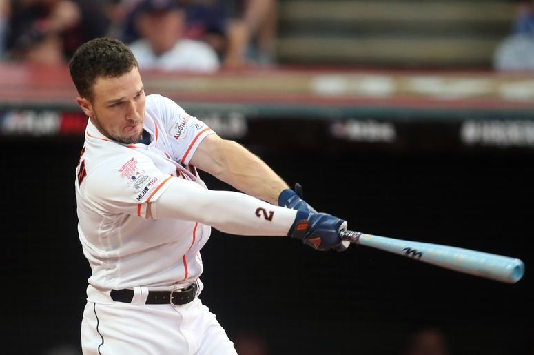 Houston Astros shortstop Alex Bregman (2) during the first round in the 2019 MLB Home Run Derby at Progressive Field.