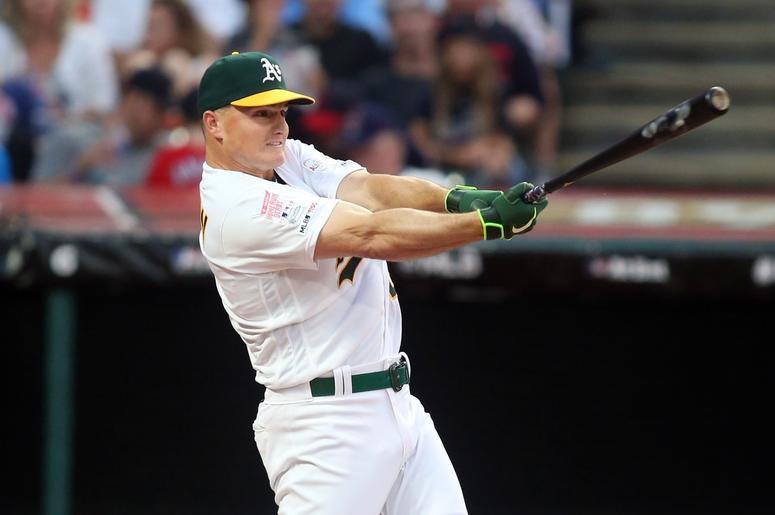 Oakland Athletics third baseman Matt Chapman (26) during the first round in the 2019 MLB Home Run Derby at Progressive Field.