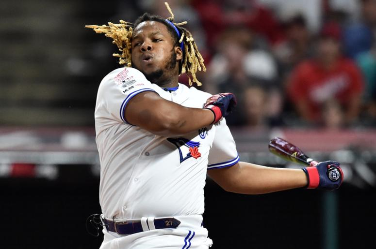 Toronto Blue Jays third baseman Vladimir Guerrero Jr. (27) during the final round in the 2019 MLB Home Run Derby at Progressive Field.