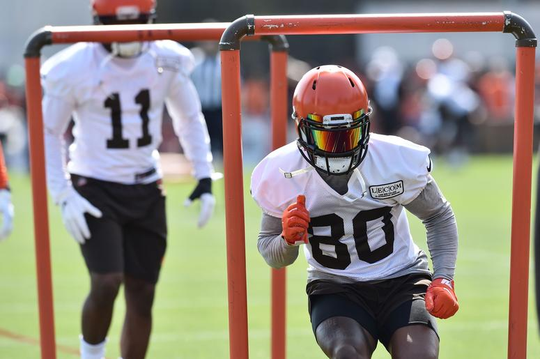 Cleveland Browns wide receiver Jarvis Landry (80) runs a drill during training camp at the Cleveland Browns Training Complex.