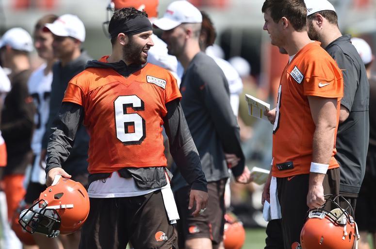 Cleveland Browns quarterback Baker Mayfield (6) talks with quarterback Garrett Gilbert (3) during training camp at the Cleveland Browns Training Complex