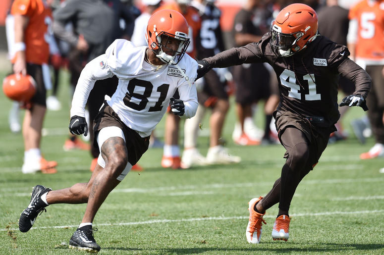 Cleveland Browns cornerback Lenzy Pipkins (41) covers wide receiver Rashard Higgins (81) during training camp at the Cleveland Browns Training Complex.