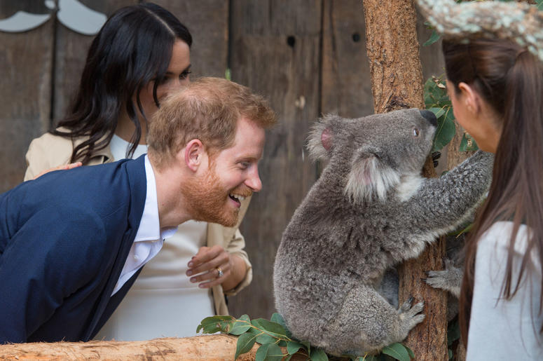 during a walkabout outside the Sydney Opera House, in Sydney on the first day of the Royal couple's visit to Australia.