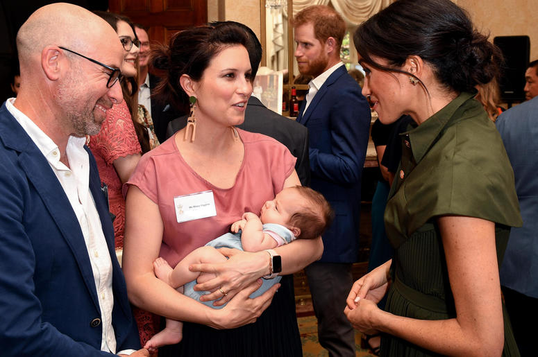 The Duchess of Sussex talks to Australian Singer Missy Higgins, with her 9 week old baby Lunar, at a reception hosted by the Governor-General at Admiralty House in Sydney on the first day of the Royal couple's visit to Australia.