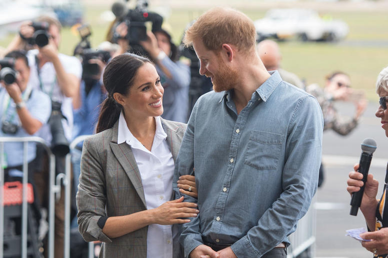 The Duke and Duchess of Sussex attend the naming and unveiling of a new Royal Flying Doctor Service aircraft at Dubbo City Regional Airport, in Dubbo, New South Wales, on the second day of the royal couple's visit to Australia.