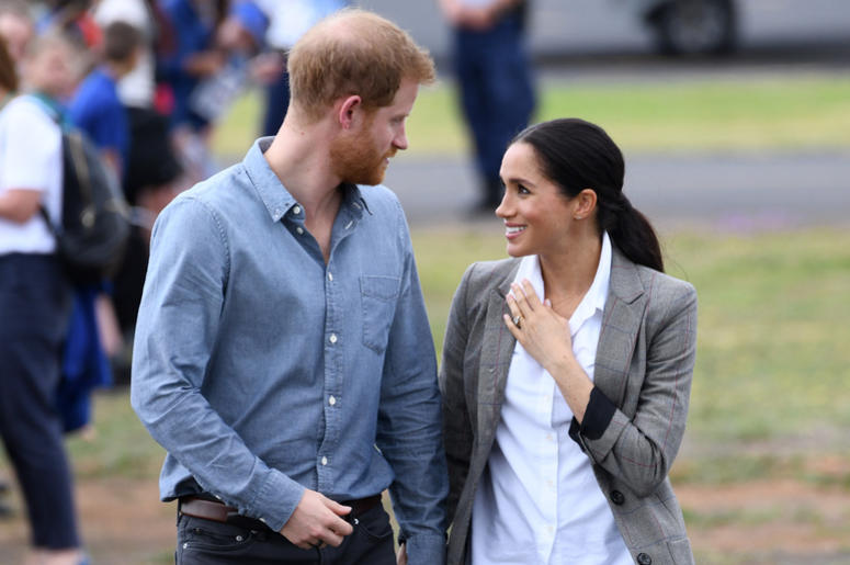 Prince Harry Duke of Sussex and Meghan Duchess of Sussex arrive at Dubbo Airport, New South Wales, Australia.