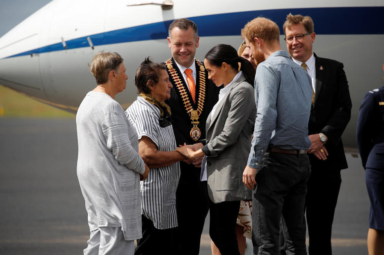 The Duke and Duchess of Sussex arrive at Dubbo airport, in Australia, on the second day of the Royal couple's tour to the country