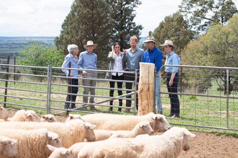 The Duke and Duchess of Sussex as they visit a local farming family, the Woodleys in Dubbo, on the second day of the Royal couple's visit to Australia.