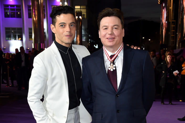 Rami Malek and Mike Myers attending the Bohemian Rhapsody World Premiere held at the the SSE Arena, Wembley, London.