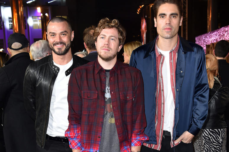 Matt Willis, James Bourne and Charlie Simpson from Busted attending the Bohemian Rhapsody World Premiere held at the the SSE Arena, Wembley, London.