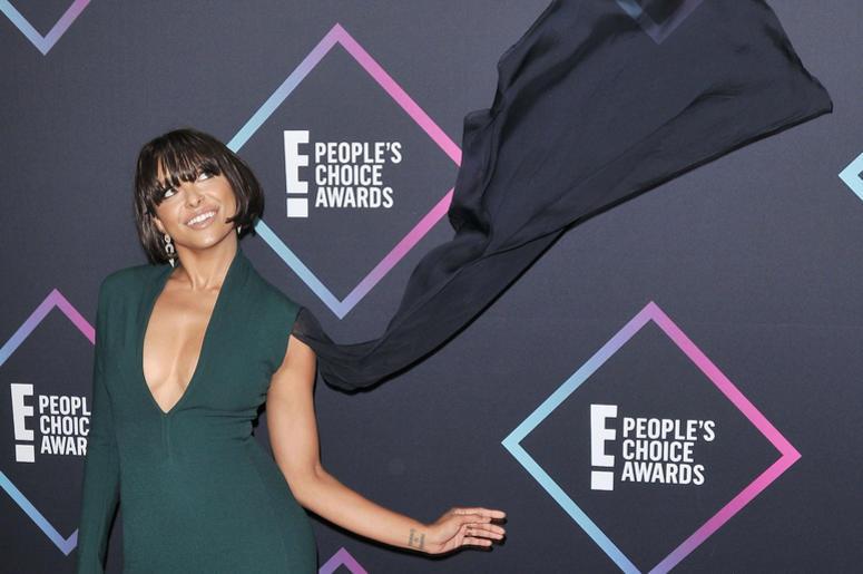 Kat Graham arrives at the 2018 E! People's Choice Awards held at the Barker Hangar in Santa Monica, CA on Sunday, November 11, 2018.