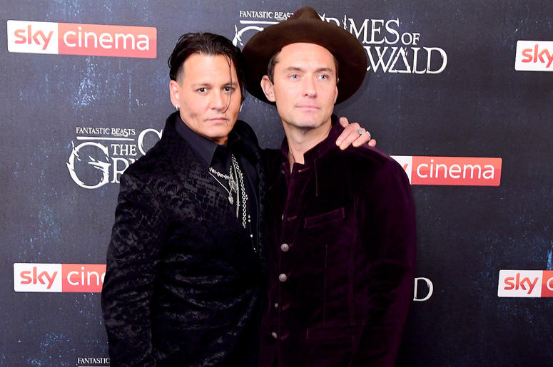 ohnny Depp (left) and Jude Law attending the Fantastic Beasts: The Crimes of Grindelwald UK premiere held at Leicester Square, London