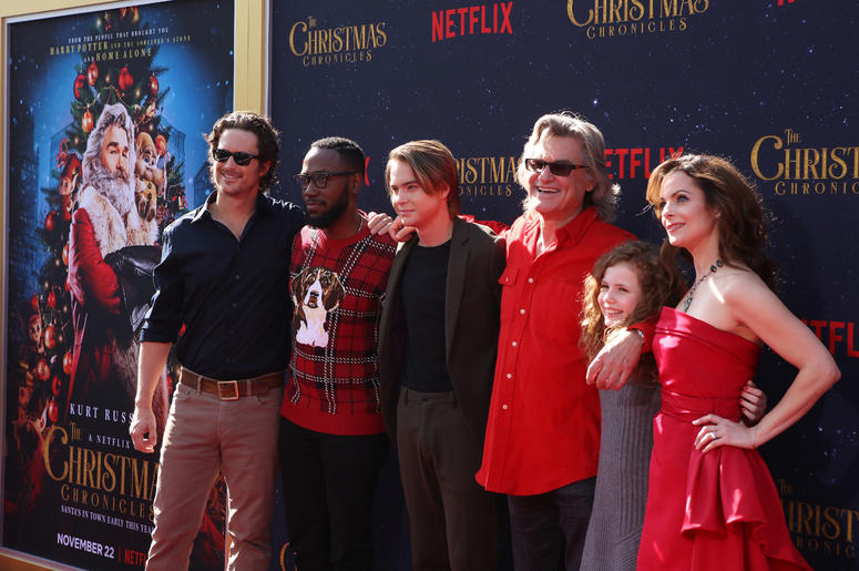 Oliver Hudson, Lamorne Morris, Judah Lewis, Kurt Russell, Darby Camp, Kimberly Williams-Paisley attend the Los Angeles Premiere 'The Christmas Chronicles' held at Regency Bruin Theatre on November 18, 2018 in Los Angeles, California