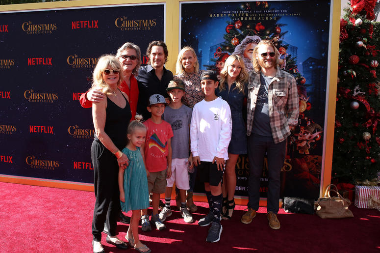 Goldie Hawn, Kurt Russell, Oliver Hudson, Erinn Bartlett, Sanne Hamers, Wyatt Russell, Rio Hudson, Bodhi Hawn Hudson, Wilder Brooks Hudson attend the Los Angeles Premiere 'The Christmas Chronicles' held at Regency Bruin Theatre on November 18, 2018 in Los