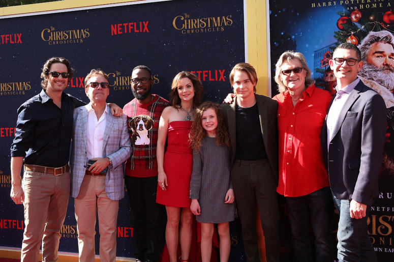 Oliver Hudson, Chris Columbus, Lamorne Morris, Kimberly Williams-Paisley, Darby Camp, Judah Lewis, Kurt Russell, Clay Kaytis attend the Los Angeles Premiere 'The Christmas Chronicles' held at Regency Bruin Theatre on November 18, 2018 in Los Angeles, Cali
