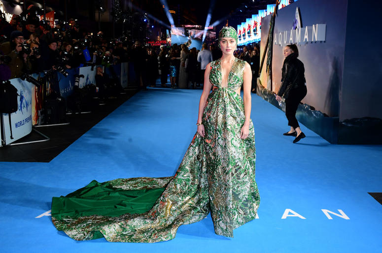 Amber Heard attending the Aquaman premiere held at Cineworld in Leicester Square, London.