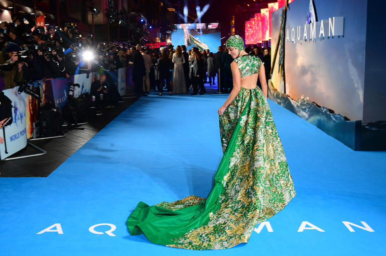 Amber Heard attending the Aquaman premiere held at Cineworld in Leicester Square, London